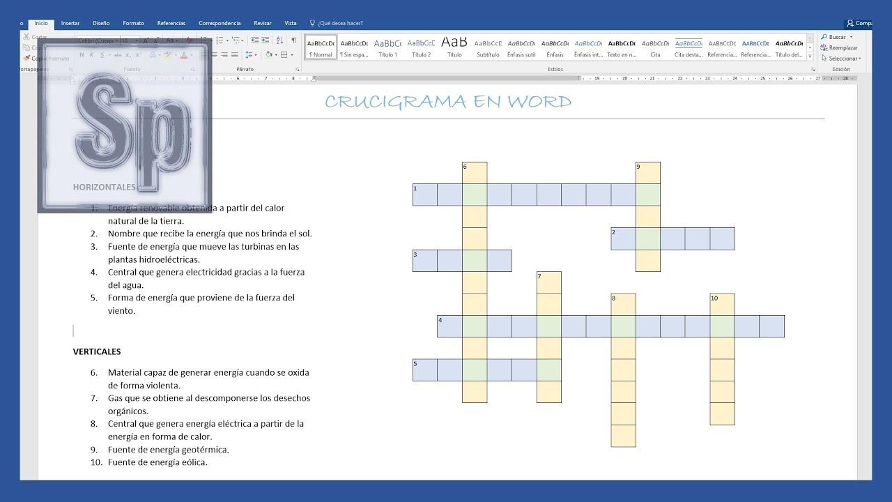 Word - Cómo hacer un crucigrama en Word. Tutorial en español HD ...