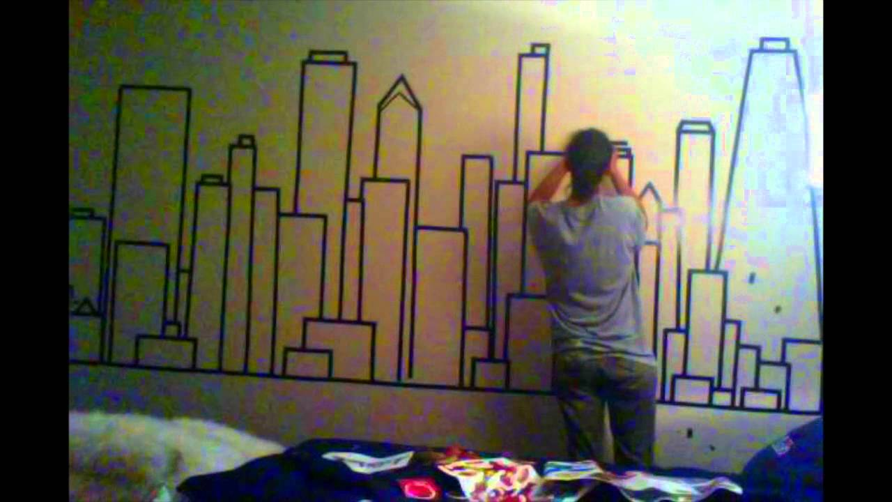 alternative to painting walls using electrical tape youtube. Black Bedroom Furniture Sets. Home Design Ideas