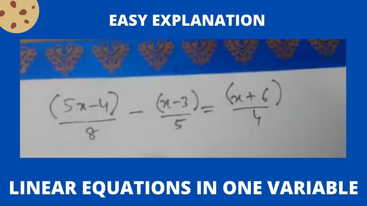Problem 1 Solve Linear Equation 5x 48 X 35 X64 Youtube