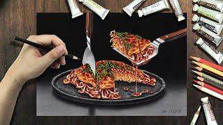 Let's draw okonomiyaki / お好み焼きを描きましょう(広島風)