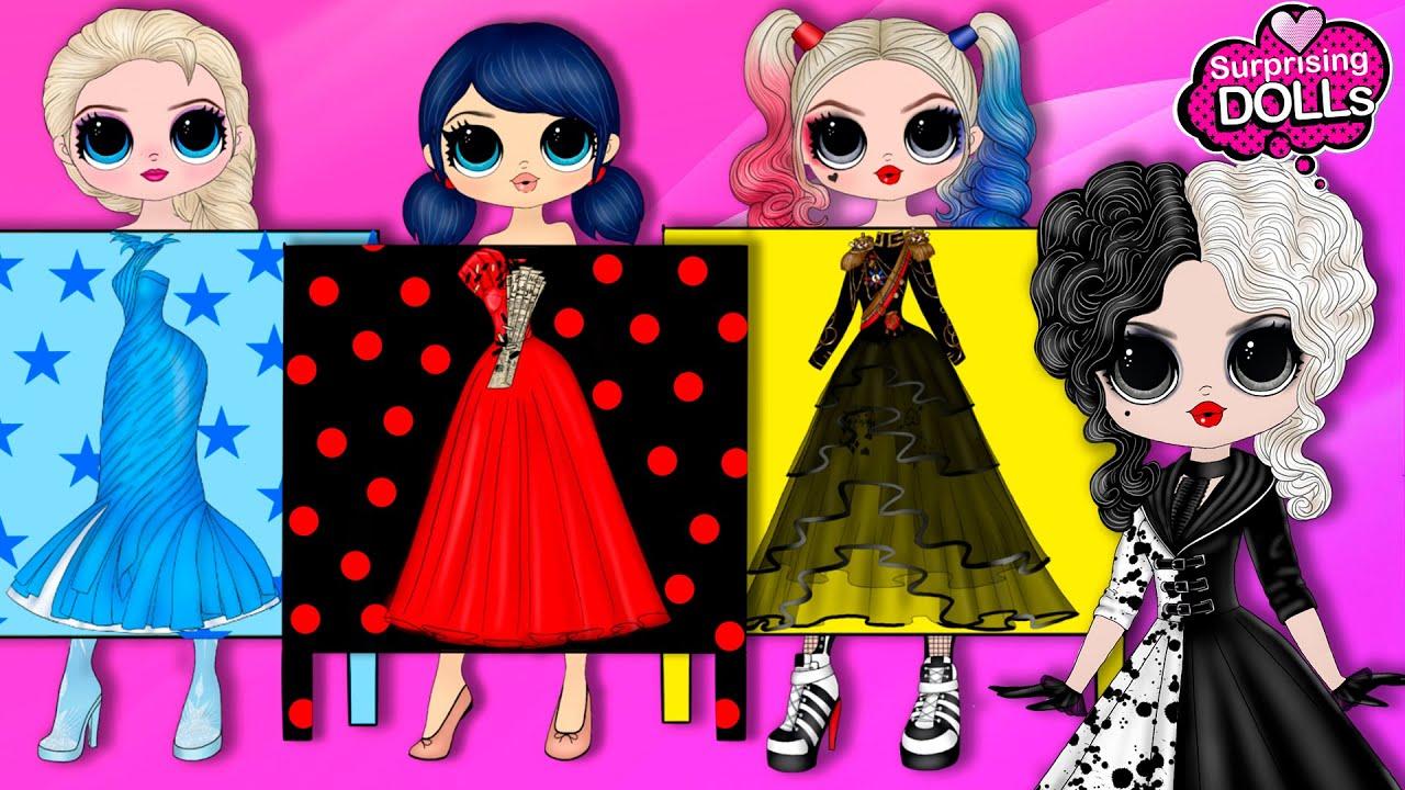 Ladybug, Elsa, Harley Quinn School Prom Dress Designed by Cruella de Vil - DIY Paper Dolls & Crafts