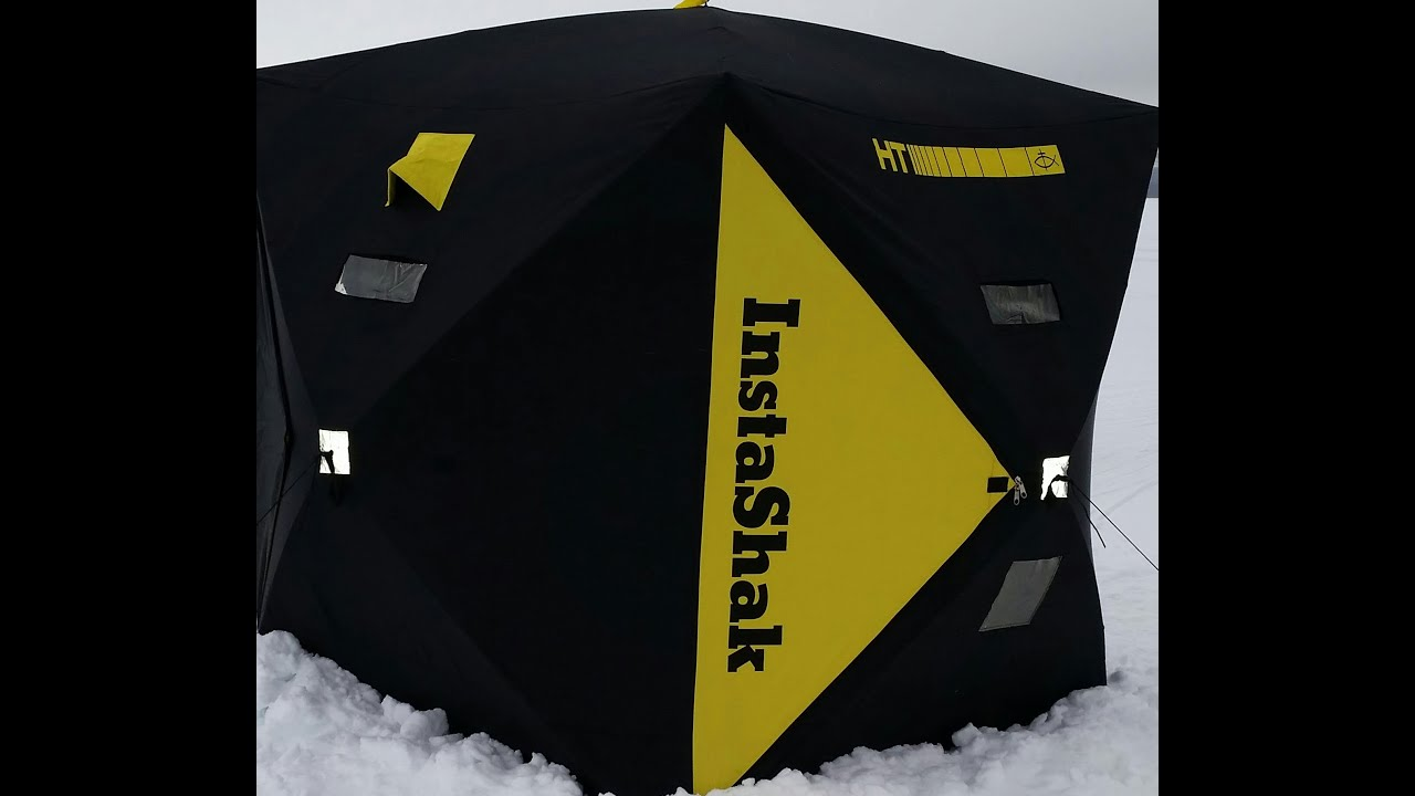 Ht insta shak ice fishing shelter youtube for Ht ice fishing