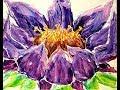DA41 Acrylic Pour Swipe Abstract Purple Lotus Flower with Sandra Lett 032018