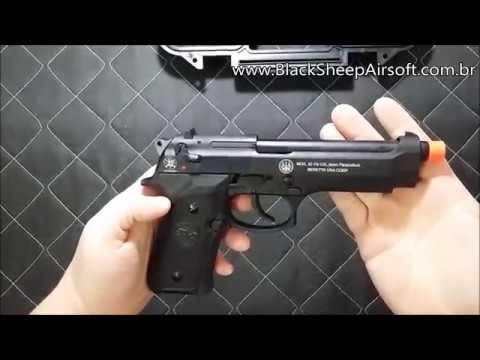 Review Airsoft SR 92 marcações a laser Beretta m92 fullmetal gás blowback