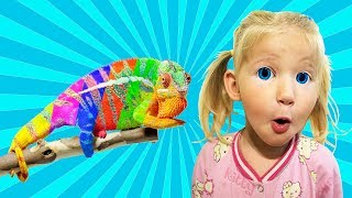 kids and chameleon coloring and learn colors with Johnny Johnny Nursery Rhymes video for kids