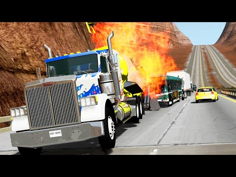 Truck Pileups Crashes 3 - BeamNG.Drive  