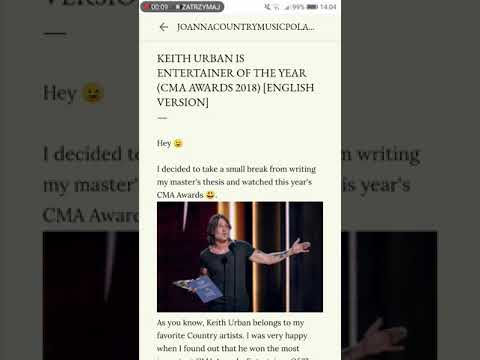 Keith Urban Is Entertainer Of The Year (CMA Awards 2018)