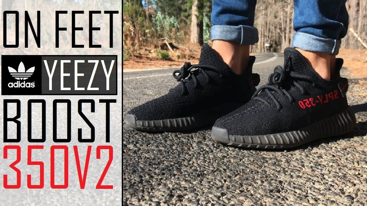 bd2be1c9 Adidas Yeezy Boost 350 V2 Core BLACK/RED   ON FEET [En Pies] w/different  pants