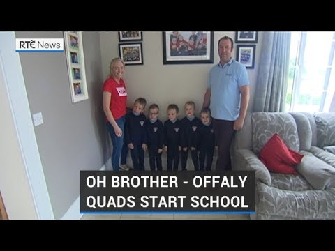 First Day Of School For Offaly Quadruplets
