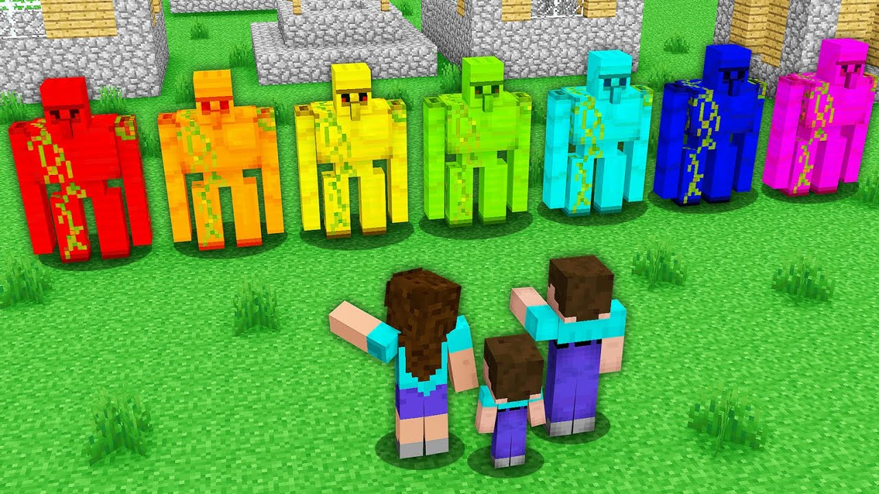 Noob family FOUND Rainbow Golems - NOOB vs PRO vs HACKER / Animation Minecraft Battle