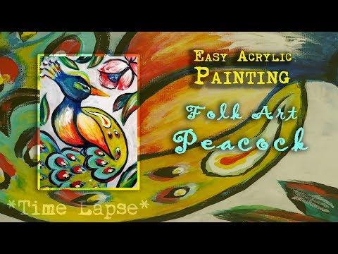 TIME LAPSE | Folk Art Peacock in Acrylics