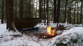 Solo Overnight Winter Tarp Camp - Minus 7, Long Fire
