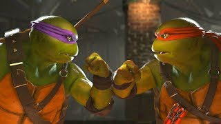 Injustice 2 - TMNT Donatello Vs Michelangelo -  All Intro Dialogue/All Clash Quotes, Super Moves