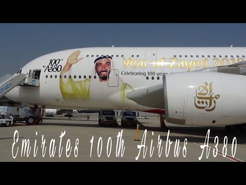 Emirates 100th A380 livery Sheikh Zayed during the Dubai Air show 2017