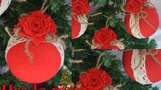 Natale fai da te: palline di polistirolo rivestite di pannolenci
