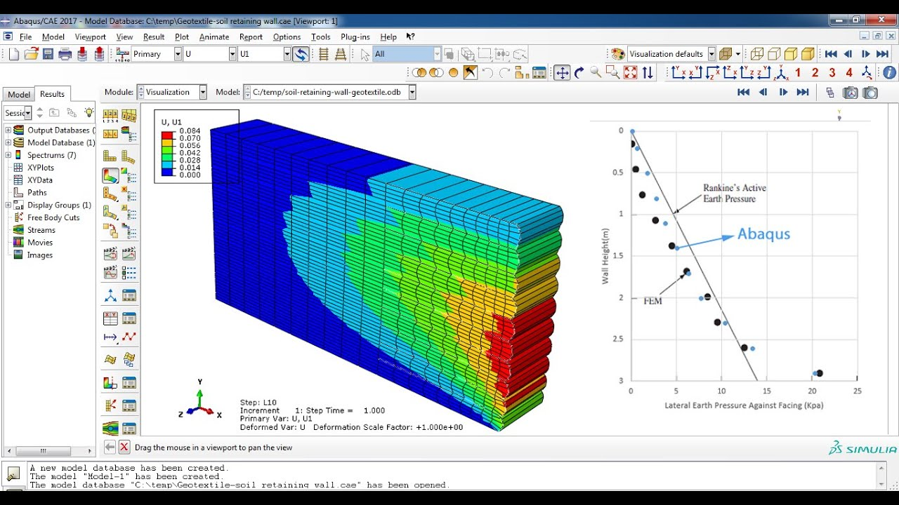 Sequential Construction of a Geotextile-Reinforced Soil Retaining Wall  Abaqus