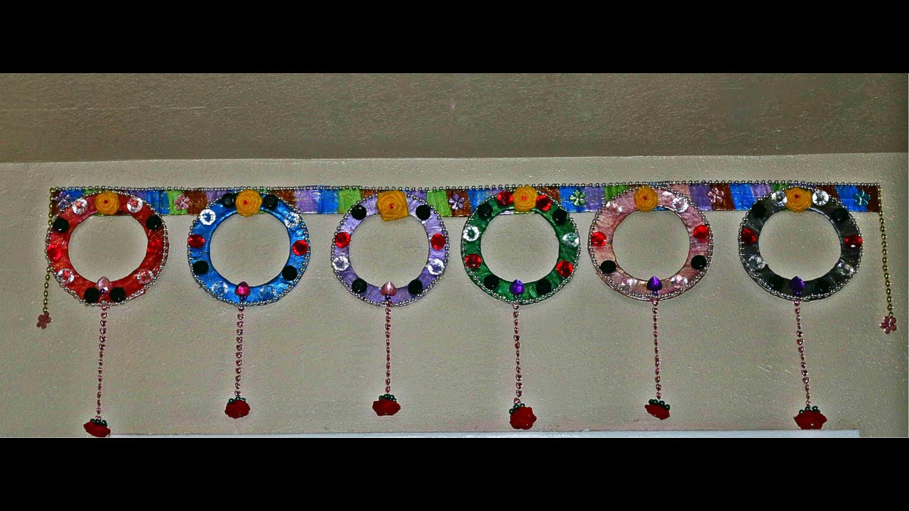 Recycled toran door hanging bandanwar diy indian toran for Wall hanging out of waste material