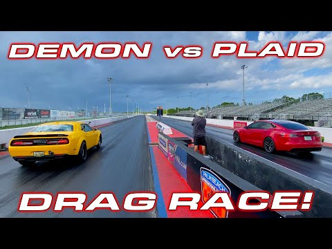 This is why Dodge is going Electric * Demon vs Plaid Tesla 1/4 Mile Drag Race
