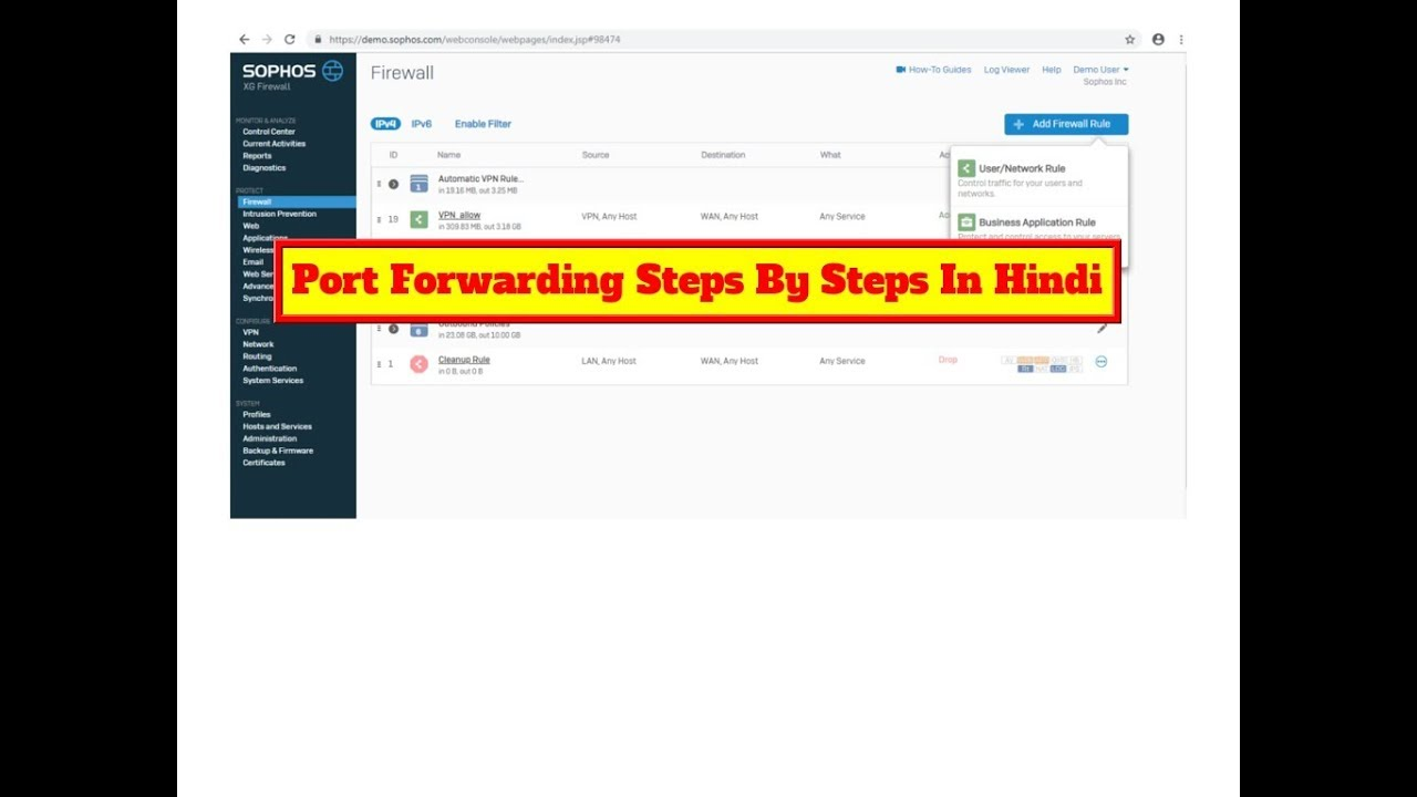 How to configure port forwarding in sophos xg firewall steps by steps |  Hindi