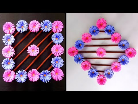 How to make beautiful wall hanging paper flower decoration | Very Easy DIY Wall hanging craft ideas
