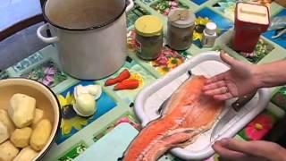 Семья Бровченко. Рецепт супа из  хребтов красной рыбы.