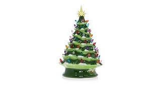 """Winter Lane 14"""" LED Lighted Ceramic Musical Christmas Tr..."""