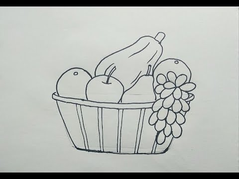 Haw To Draw A Fruit Basket Step By Step