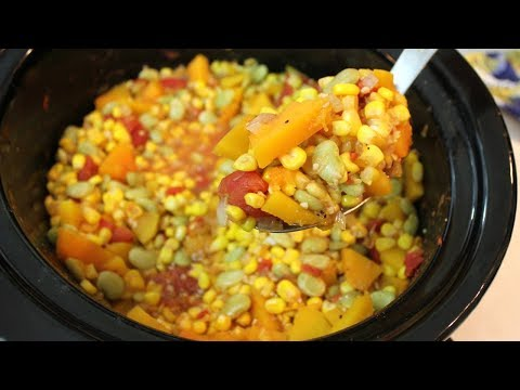 Succotash Recipe: Crockpot Recipes | Fall Slow Cooker Recipes (Vegetarian)
