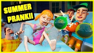 THROWING WATER BALLOONS SUMMER FAMILY PRANK - Hello Neighbor Mod