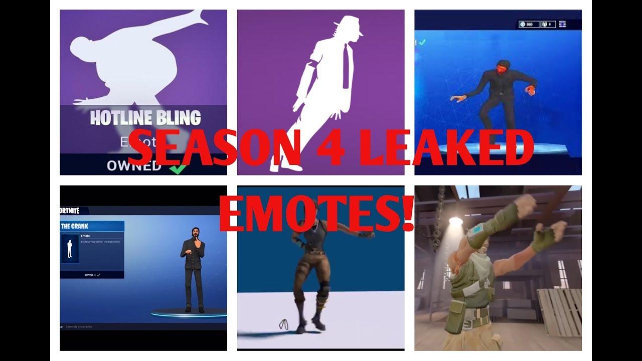 new fortnite season 4 leaked emotes moonwalk hotline bling pon pon and crank fortnite - fortnite ride it