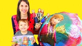frozen disney video super giant anna surprise egg let it go elsa mega huge barbie dolls