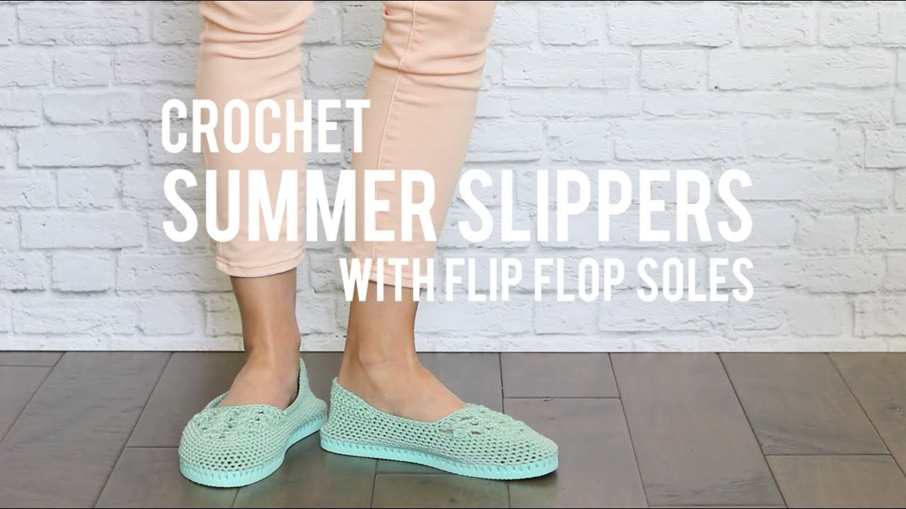 1dcf9cc08c7dd How to Crochet Easy Slippers With Flip Flop Soles- Free Pattern + Beginner  Tutorial