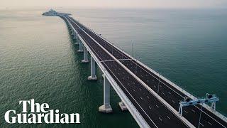 Aerial footage of the world's longest sea bridge