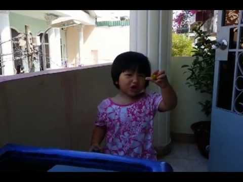 """Bé May 2 tuổi hát nhạc thiếu nhi """"cá vàng bơi"""", """"quả gì chua chua thế""""..."""