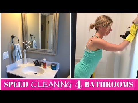 SPEED CLEANING 4 DIRTY BATHROOMS | MAJOR BATHROOM CLEANING MOTIVATION