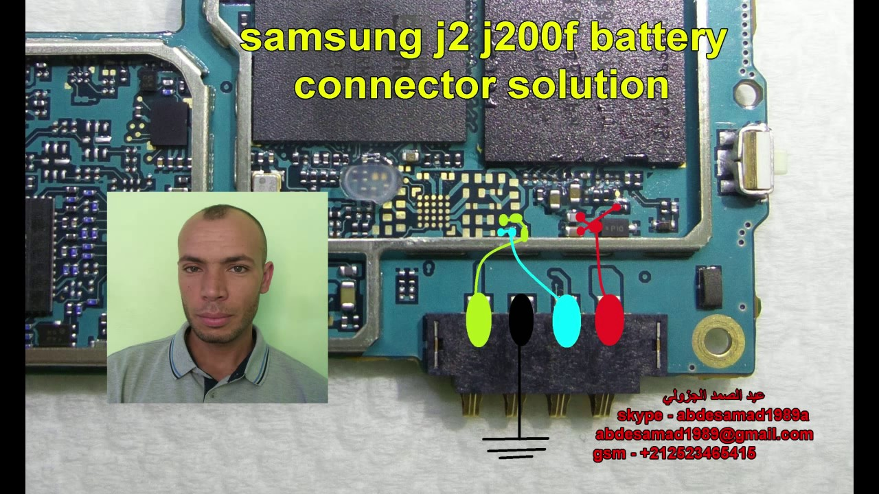 samsung j2 j200f battery connector solution مسارات كونكتور البطارية  YouTube