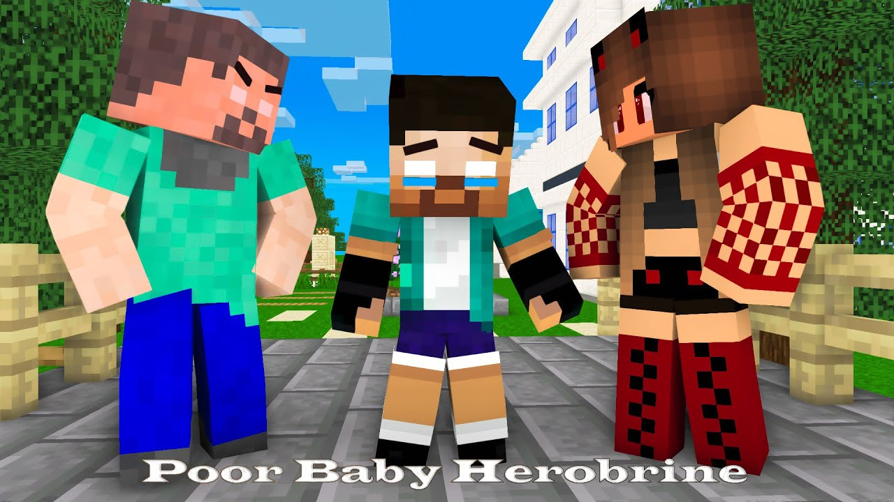 Monster School: Poor Baby Herobrine  (Bad Family) (Sad story but happy ending)- Minecraft Animation