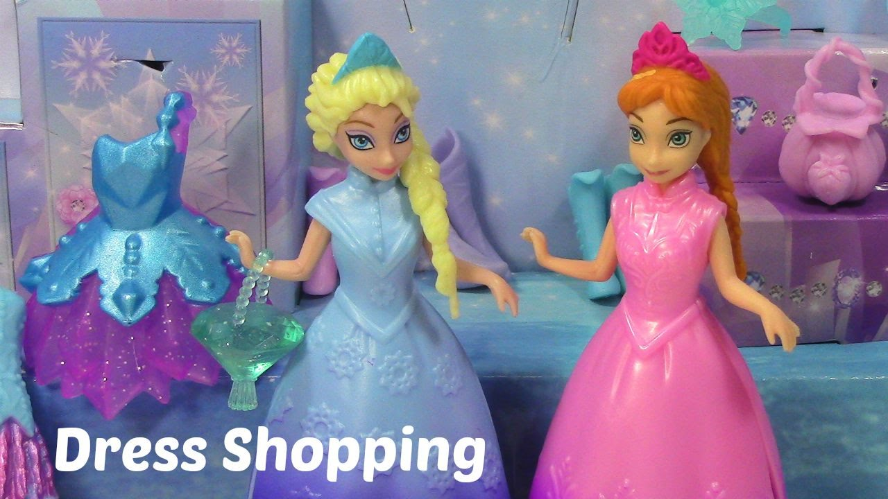 Elsa and Anna Magiclip Dolls Go Dress Shopping at Periwinkles Crystal  Boutique