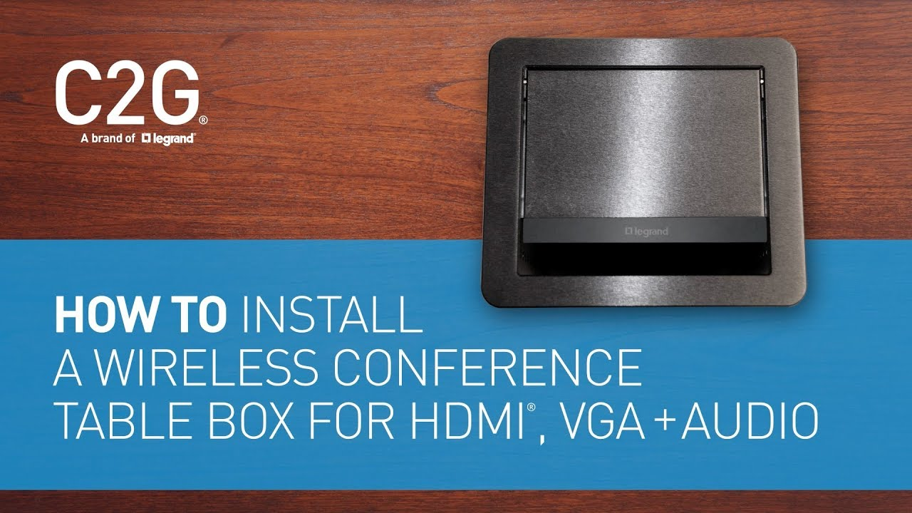 How To Install A Wireless Conference Table Box For HDMI VGA Audio - Conference table data ports hdmi
