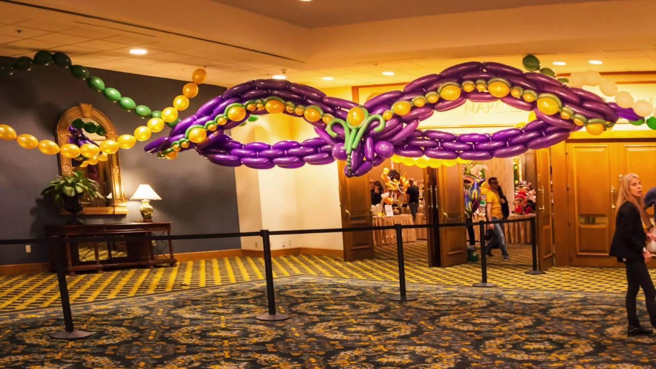 e35d08b1cd6 Mardi Gras Party Decor with Balloons - YouTube