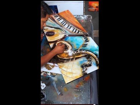 Musical instrument spray art