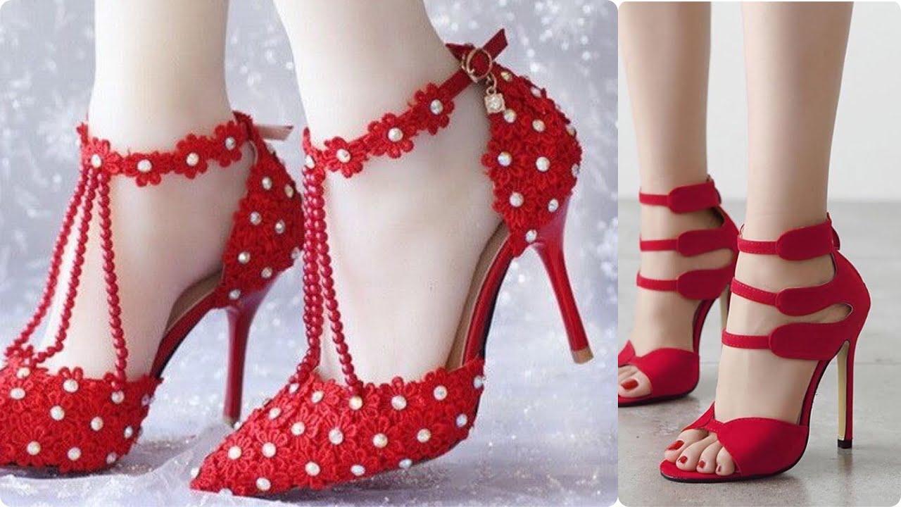 BEST STYLISH 💯 RED HIGH HEELS #SANDALS DESIGN👠wedding shoes,#Footwear for women