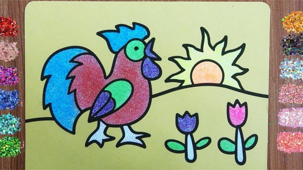 Rooster Sand Painting L Mewarnai Ayam Jago Dengan Glitter Untuk Anak