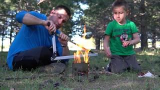 Minolit V2 Kamp Sobası, Coghlans Testere, Çakmak Taşıyla Ateş Yakma ve Sucuk