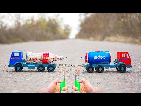 Experiment: Pepsi vs Coca Cola (Turbo Trucks)