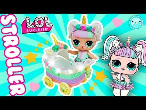 Miniature UNICORN Lol Surprise Stroller DIY | Custom Lil Sister Doll Tutorial