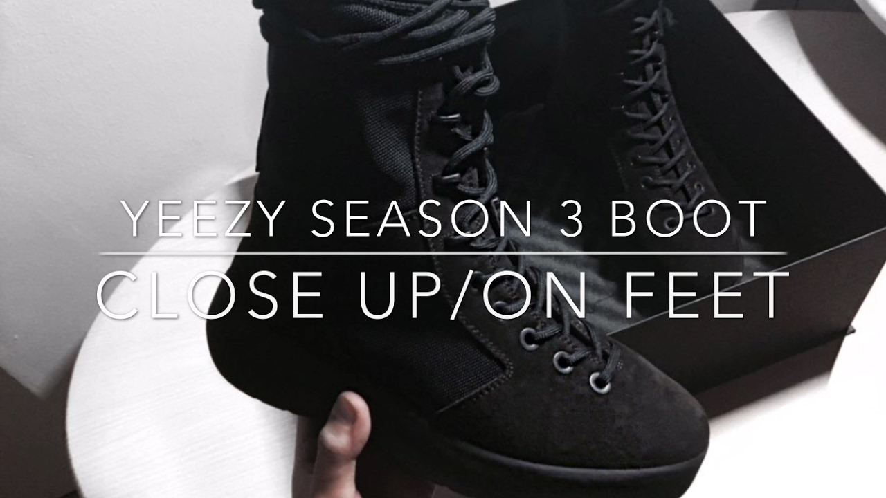 f37417282 YEEZY SEASON 3 MILITARY BOOT CLOSE UP ON FEET - YouTube