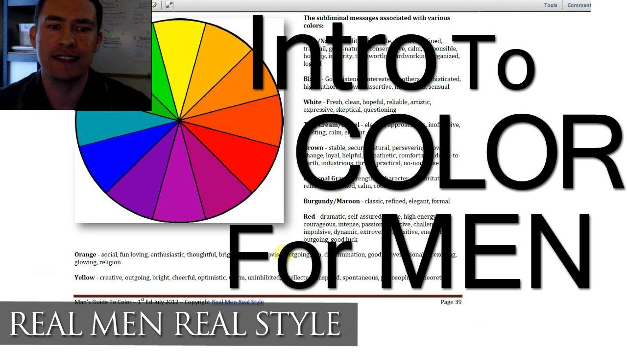 Color Coordination Chart Color & Men's Clothing Video - Style System August