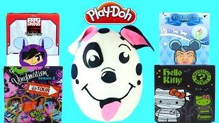 Giant 101 Dalmatians Surprise Egg Blind Boxes Cinderella Disney Big Hero 6 Hello Kitty Play Doh