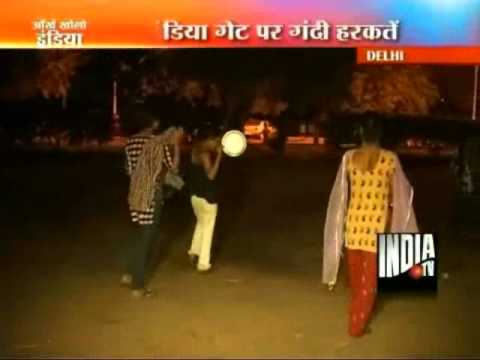 Eunuchs terrorize late night strollers at Delhi's India Gate: India TV team on Saturday night recorded how groups of eunuchs go on a wild spree at Delhi's high-security zone India Gate and terrorize  late night strollers. Several of the eunuchs were seen heckling and beating up an old man, while others were openly indulging in obscene gestures, the India TV team observed.